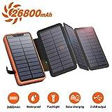 Solar PowerBank 26800mAh, Solar Ladegerät mit 4...