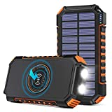 Hiluckey Wireless Solar Powerbank 26800mAh...