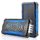 DJROLL 36000mAh Qi Wireless Solar Powerbank mit 4...